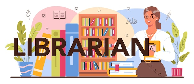 司書の活版印刷ヘッダー。図書館スタッフがアーカイブ内の本を目録化し、分類します。知識と教育のアイデア。 llibrary閲覧室guid。孤立したベクトル図