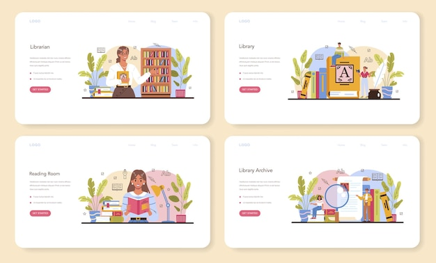 Librarian web banner or landing page set. library staff cataloguing and sorting books in archive. knowledge and education idea. llibrary reading room guid. isolated vector illustration