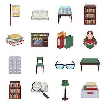 Библиотека и книга мультфильм установить значок. книжный магазин иллюстрации. изолированная библиотека и книга значка шаржа установленные.
