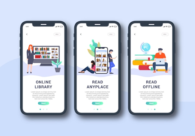Library app set of onboarding screen mobile ui design