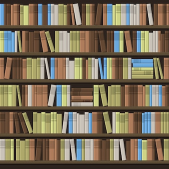 Library book shelf seamless background.