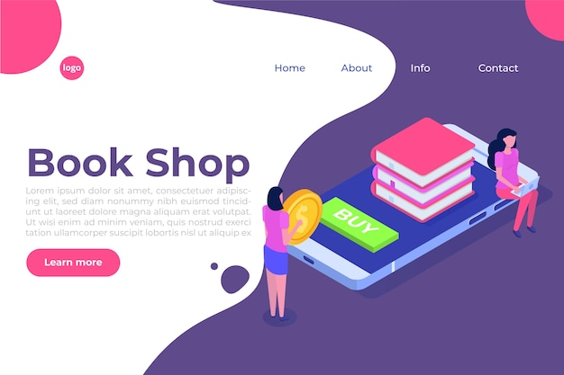 Library or book shop mobile online isometric concept. micro people buying books.