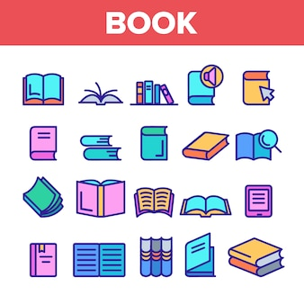 Library book sign icons set