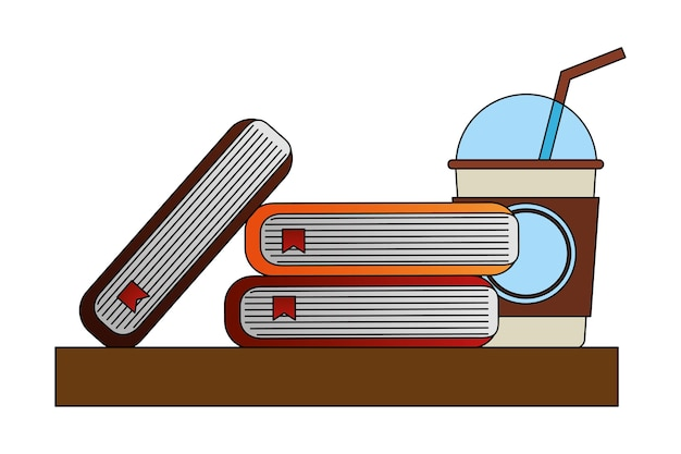 Library books with coffee vector illustration design