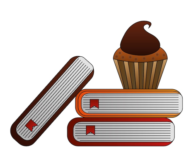 Library books with cupcake vector illustration design