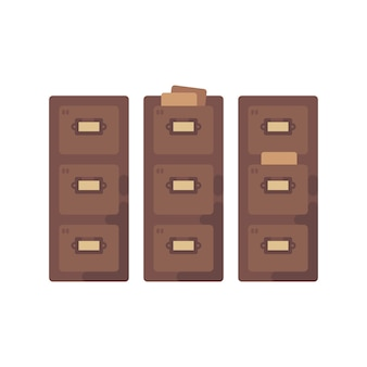 Library card catalog flat illustration. old document storage icon
