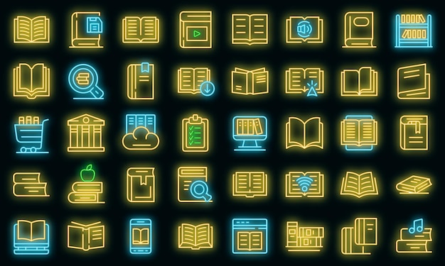 Library icons set. outline set of library vector icons neon color on black