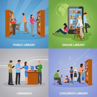 Library icons set