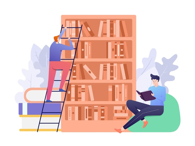 Library  illustration with person reading book and the other searching for book as concept. this illustration can be use for website, landing page, web, app, and banner.