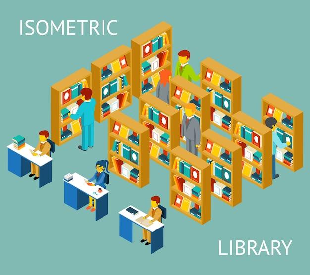 Библиотека в изометрической проекции, плоский стиль. люди среди книжных полок.