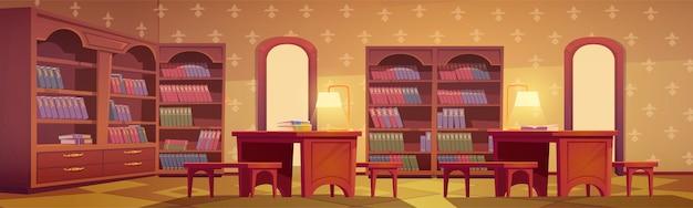 Интерьер библиотеки, пустая комната для чтения с различной коллекцией книг на деревянных полках книжного шкафа