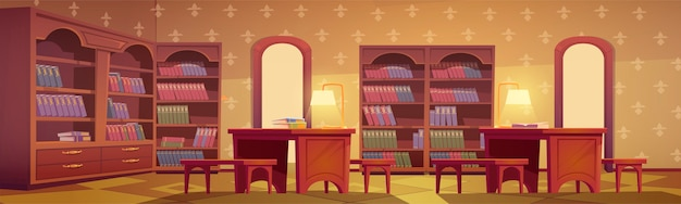 Interno della biblioteca, stanza vuota per la lettura con vari libri di raccolta sugli scaffali della libreria in legno