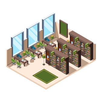 Library interior. university school room with bookshelves librarian campus  isometric building