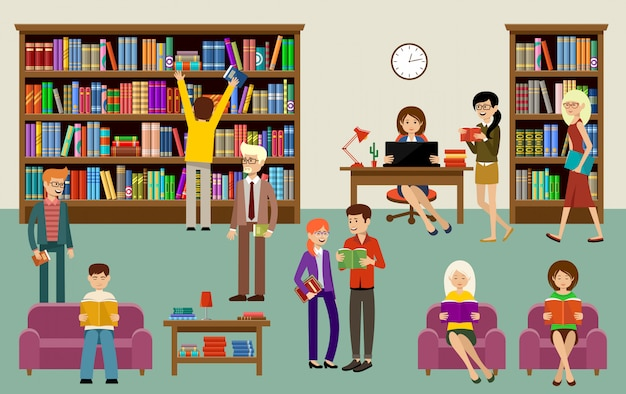 Интерьер библиотеки с людьми и книжными полками. образование