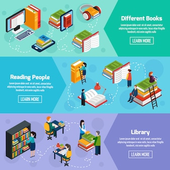 Library isometric horizontal banners