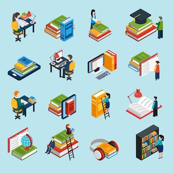 Library isometric icons set