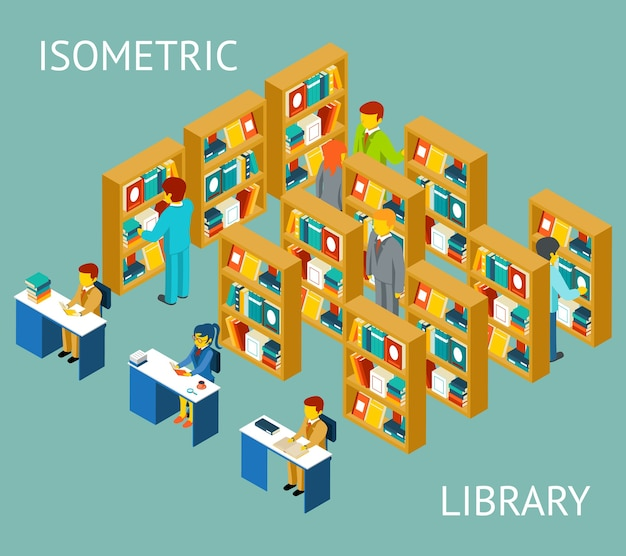 Library in isometric view, flat style. people among bookshelves.