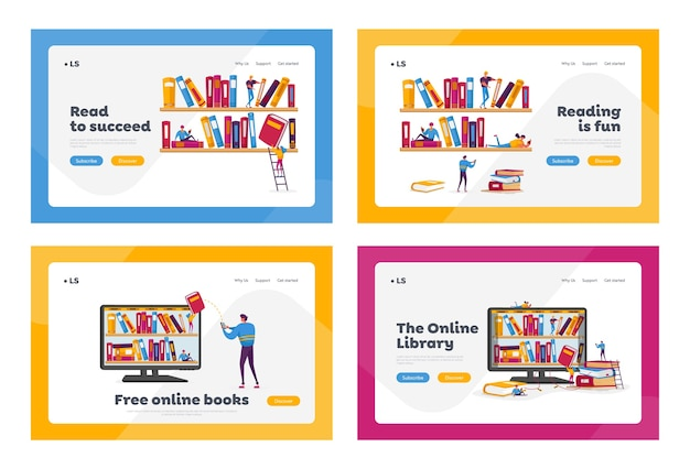 Library, media archive landing page template set.