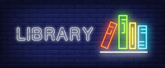 Library neon text and books on shelf