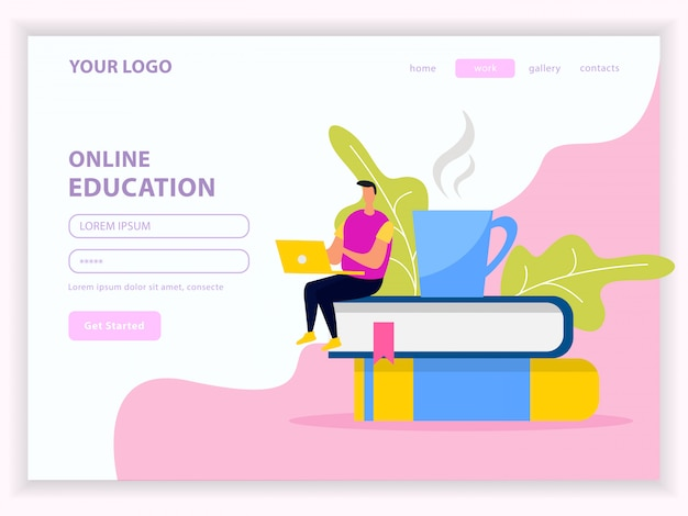 Library and online education flat web landing page with user account on white pink