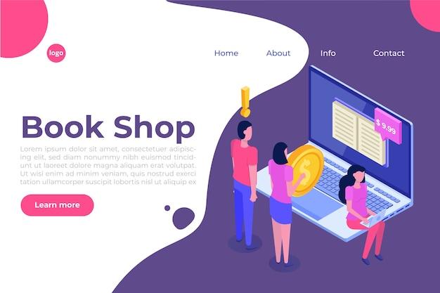 Библиотека или книжный магазин мобильного онлайн изометрической концепции. микро-люди покупают книги.