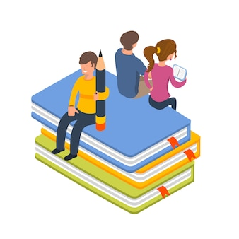 Library people isometric vector illustration