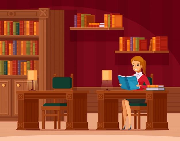 Composizione ortogonale piana interna nella sala di lettura delle biblioteche con il cliente della giovane signora alla tavola e agli scaffali per libri