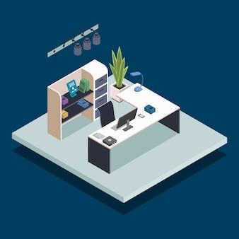 도서관 리셉션 아이소 메트릭 컬러 일러스트입니다. 사무실 매니저, 사서, 접수 데스크. 서점 관리자 직장. 파란색 배경에 고립 된 공공 책 도서관 방 3d 개념