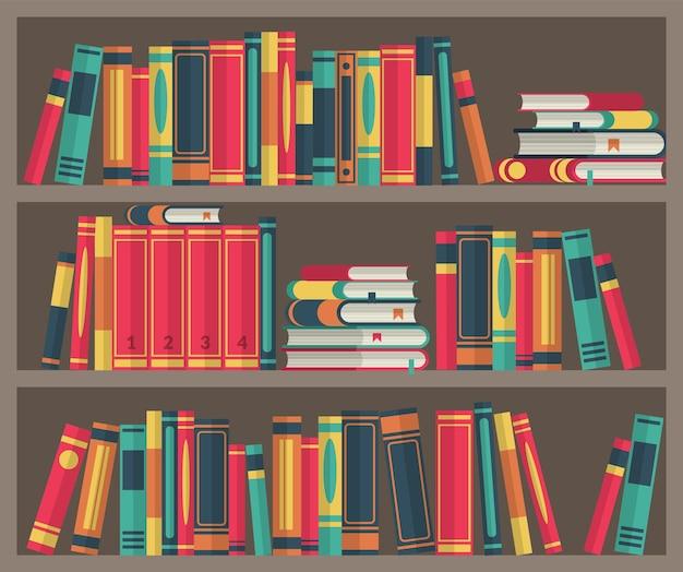 Библиотечная комната. стопки книг в книжном шкафу. различные книги на книжной полке стоят и лежат, красочные обложки, деревянная мебель для учебы и обучения, классический интерьер векторные иллюстрации