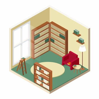 Library room isometric design