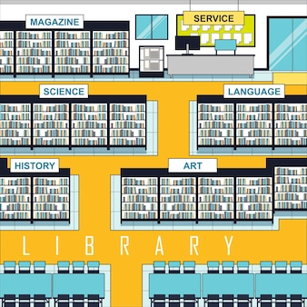 Library scene with lots of bookshelves and books in line style