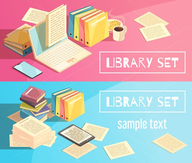 Library set isometric banners