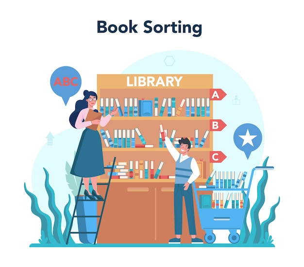 Library staff holding and sorting book