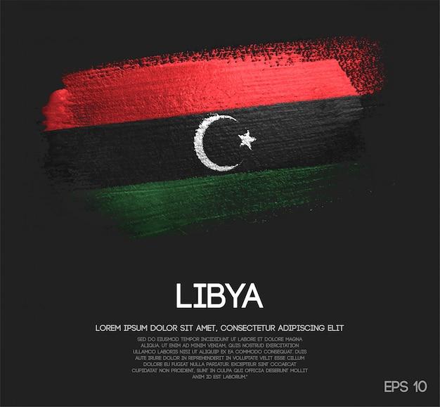 キラキラ輝きのブラシペイントで作られたリビアの旗