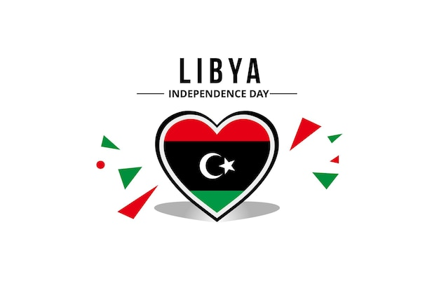 Libya flag in the middle of a heart ornament with original color