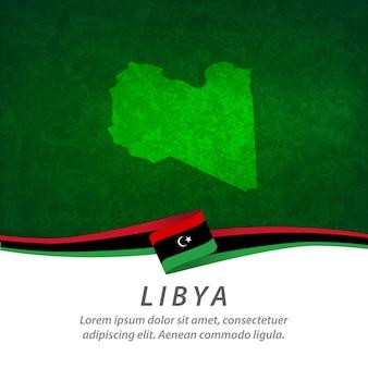 Флаг ливии с центральной картой