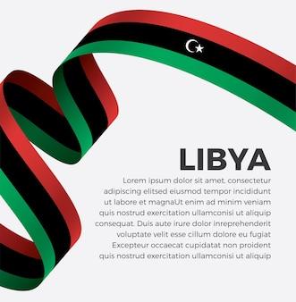 Флаг ливии с лентой векторная иллюстрация на белом фоне premium векторы