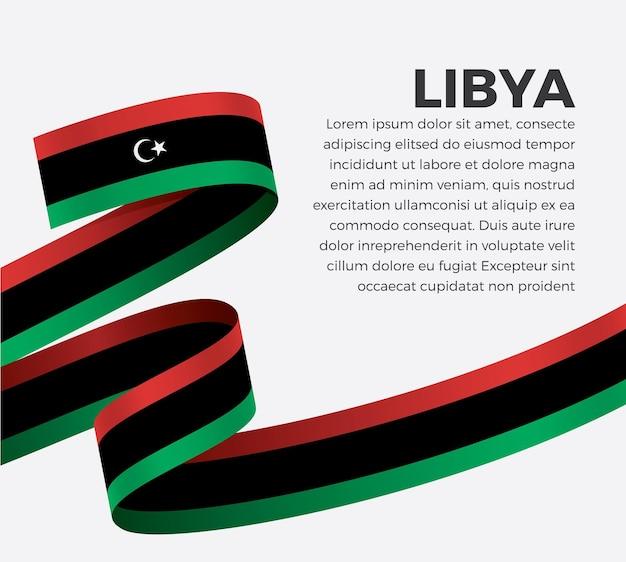 Флаг ливии ленты, векторные иллюстрации на белом фоне