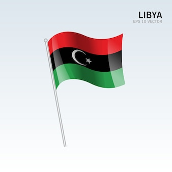 Libya waving flag isolated on gray background