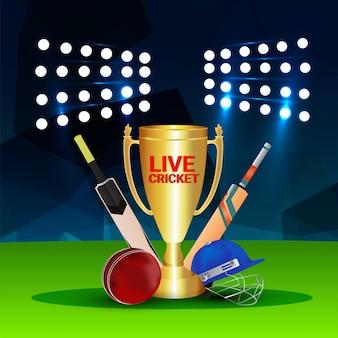 Lice cricket championship with stadium