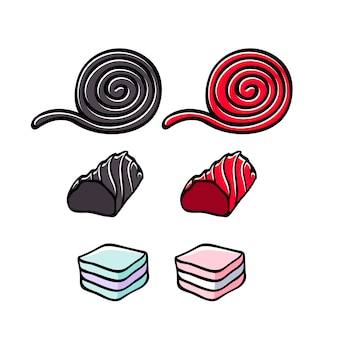 Licorice and marshmallow candies set