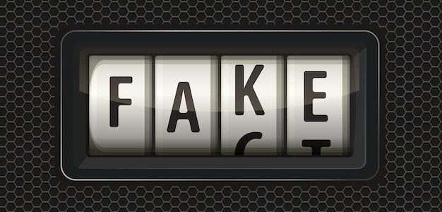 The lie detector shows the fake value, not the fact. vector illustration. fake lettering