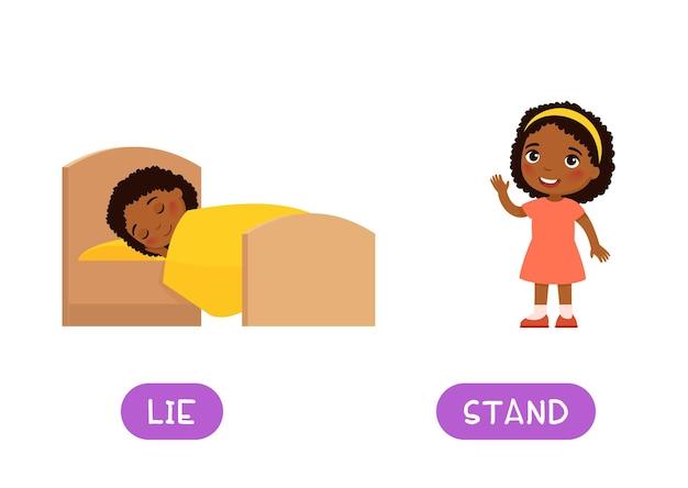 Menzogna e stand antonimi carta di parole concetto di opposti flashcard per l'apprendimento della lingua inglese