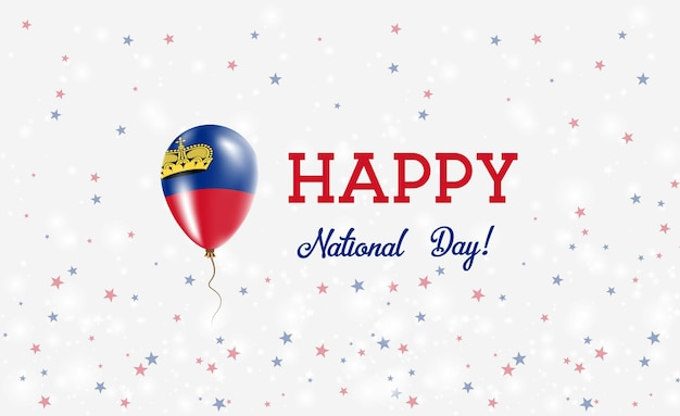 Liechtenstein national day patriotic poster. flying rubber balloon in colors of the liechtensteiner flag. liechtenstein national day background with balloon, confetti, stars, bokeh and sparkles.