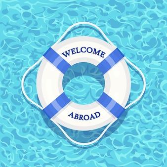 スイミングプールに浮かぶ生命ブイ。背景に分離された水のビーチゴムリング。ライフブイ、子供向けのかわいいおもちゃ。インフレータブルサークル。人を救うための船用レスキューベルト。漫画フラットアイコン