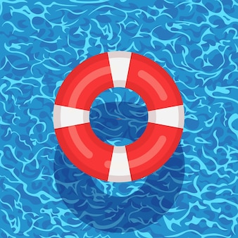スイミングプールに浮かぶ生命ブイ。背景に水のビーチゴムリング。ライフブイ、子供向けのかわいいおもちゃ。不可能円。人を救うためのレスキューベルト。 Premiumベクター