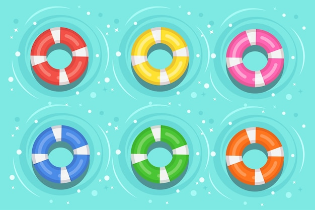 Спасательный круг в бассейне. пляжное резиновое кольцо на воде на фоне. спасательный круг, милая игрушка для детей. небесный круг. корабельный спасательный пояс для спасения людей.