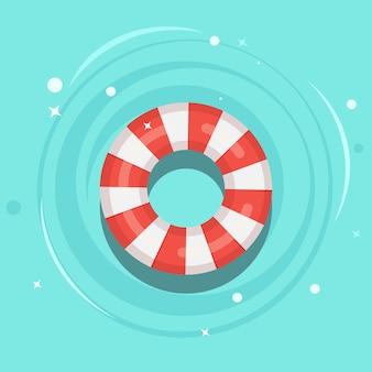 スイミングプールに浮かぶ救命浮き輪