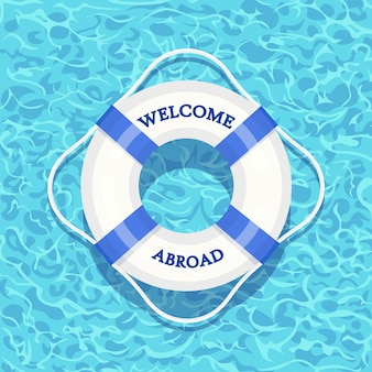 Life buoy floating in swimming pool. beach rubber ring on water isolated on background. lifebuoy, cute toy for children. inflatable circle. ship rescue belt for saving people. cartoon flat icon
