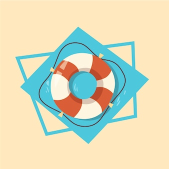 Life buoy icon summer sea vacation concept summertime holiday